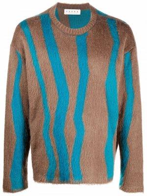 Wave-print brushed jumper Paura. Цвет: коричневый