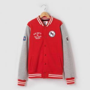 Куртка в стиле Тедди, 10-16 лет AMERICAN COLLEGE. Цвет: красный + серый