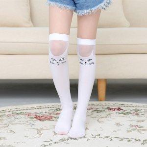 Гольфы с узором кошки для девочек SHEIN. Цвет: белые
