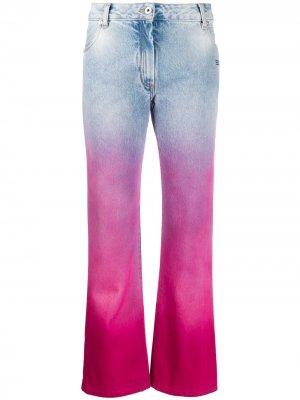 Укороченные джинсы с эффектом деграде Off-White. Цвет: синий