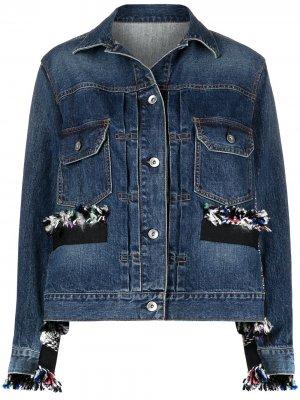 Джинсовая куртка с необработанными краями Sacai. Цвет: синий