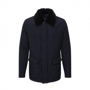 Утепленная куртка с меховой отделкой Canali. Цвет: синий