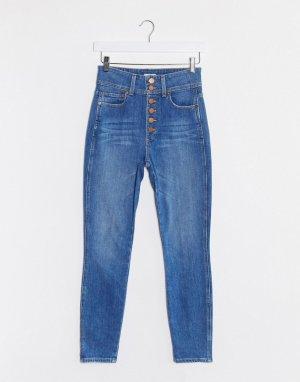 Синие джинсы скинни с завышенной талией Jeans-Синий Alice & Olivia