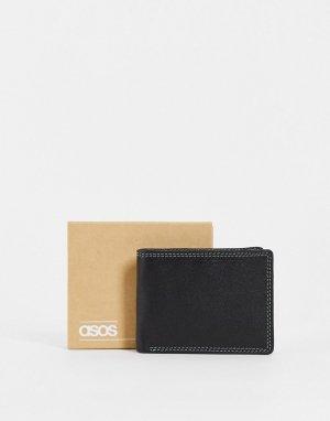 Черный кожаный кошелек с контрастной шалфейно-зеленой внутренней частью -Черный цвет ASOS DESIGN