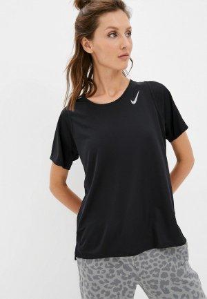 Футболка спортивная Nike W NK DF RACE TOP SS. Цвет: черный