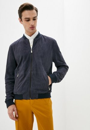 Куртка кожаная Trussardi Collection. Цвет: синий