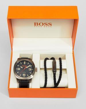 Подарочный набор из часов с черным ремешком и браслета Orange By Hugo Boss-Черный BOSS