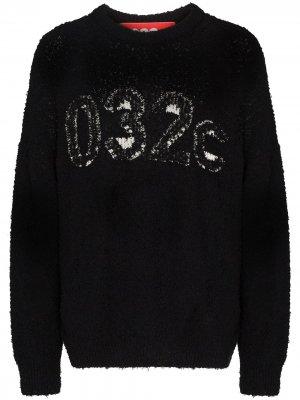 Толстовка с фактурным логотипом 032c. Цвет: черный
