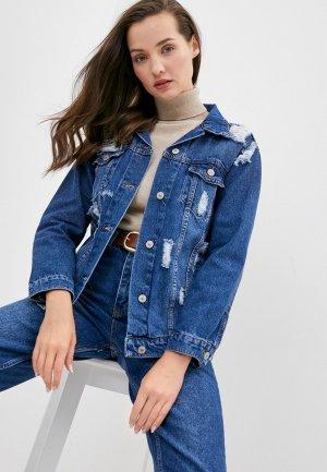 Куртка джинсовая Chic & Charisma. Цвет: синий