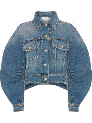 Джинсовая куртка с объемными рукавами Alexander McQueen. Цвет: синий