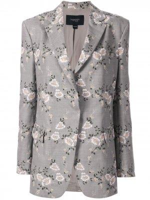 Блейзер с цветочной вышивкой Giambattista Valli. Цвет: серый