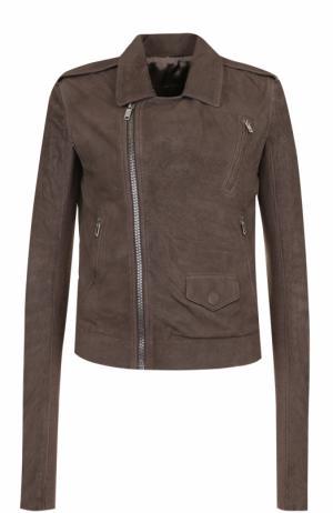 Кожаная куртка с косой молнией и погонами Rick Owens. Цвет: темно-серый