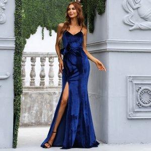 Вечернее платье бантом с молнией высоким разрезом SHEIN. Цвет: синий