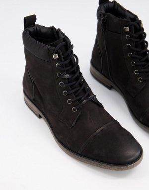 Черные замшевые ботинки на шнуровке -Черный Dune