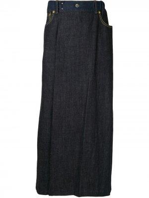 Укороченные джинсы широкого кроя Fumito Ganryu. Цвет: синий