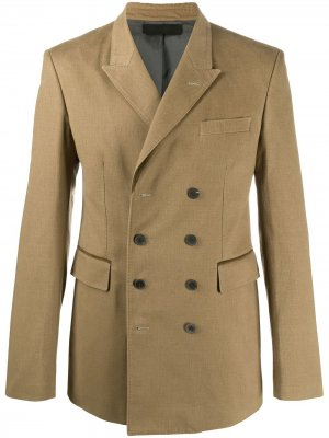 Двубортное пальто узкого кроя Haider Ackermann. Цвет: зеленый