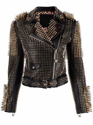 Байкерская куртка с заклепками Philipp Plein. Цвет: черный