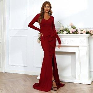 Длинное платье-русалка с оборкой SHEIN. Цвет: бургундия