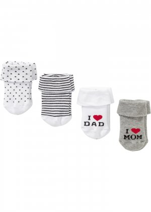 Носки для младенца (4 пары) bonprix. Цвет: белый