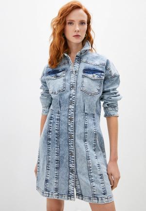 Платье джинсовое Twinset Milano ACTITUDE. Цвет: голубой