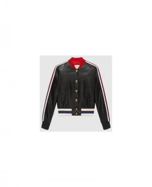Embroidered leather bomber Alexander McQueen. Цвет: none