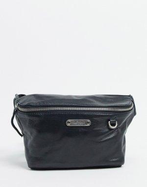 Кожаная сумка-кошелек на пояс -Черный цвет Bolongaro Trevor