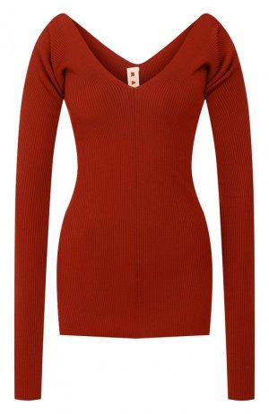 Шерстяной пуловер Marni. Цвет: коричневый