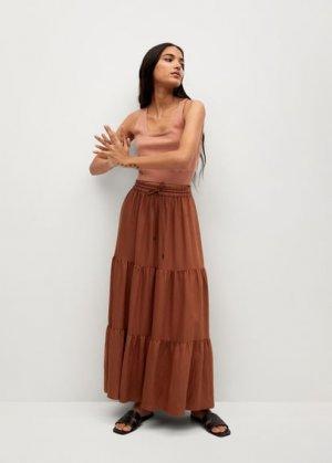 Миди-юбка с воланами - Bambu Mango. Цвет: золотисто-оранжевый