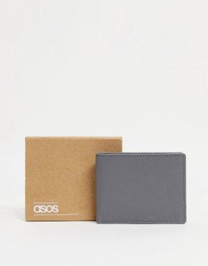 Темно-серый кожаный кошелек двойного сложения ASOS DESIGN