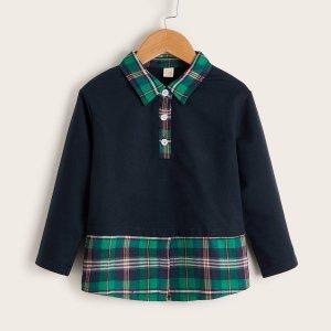 Для мальчиков Рубашка-поло 2 в 1 клетку край SHEIN. Цвет: темно-синий