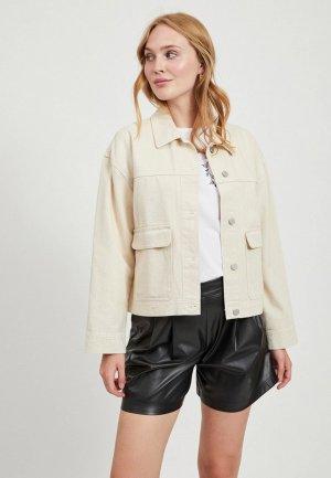 Куртка джинсовая Vila. Цвет: бежевый