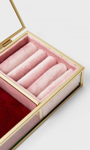 Бархатная Шкатулка Для Украшений Женская Коллекция Цвет Розового Макияжа 103 Stradivarius. Цвет: цвет розового макияжа