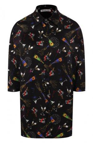 Шелковая блузка Balenciaga. Цвет: черный