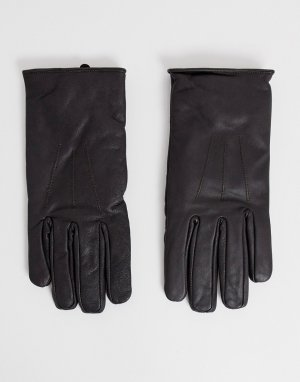 Коричневые кожаные перчатки Classic French Connection. Цвет: коричневый