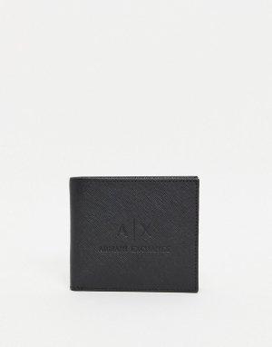 Черный кожаный бумажник с тисненым логотипом AX -Черный цвет Armani Exchange