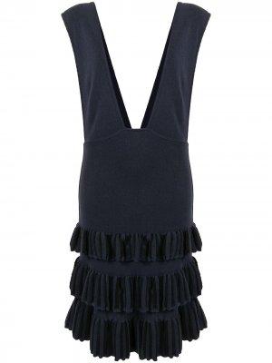 Платье-сарафан с оборками Alaïa Pre-Owned. Цвет: синий