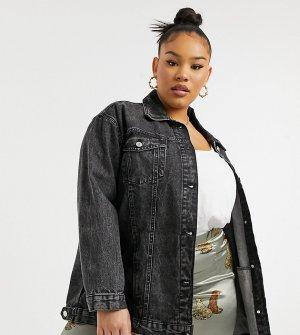 Черная выбеленная джинсовая куртка в стиле oversized Wednesdays Girl Curve-Черный цвет Wednesday's Curve