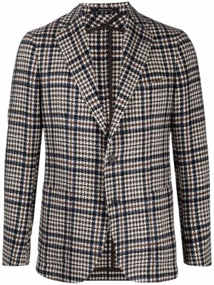 Однобортный пиджак в ломаную клетку Hevo. Цвет: черный