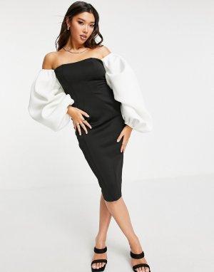 Облегающее монохромное платье миди с открытыми плечами и очень большими рукавами -Разноцветный ASOS DESIGN