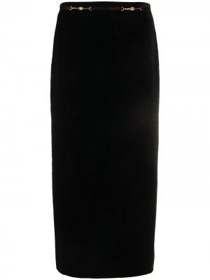 Юбка миди с вышитым логотипом Céline Pre-Owned. Цвет: черный
