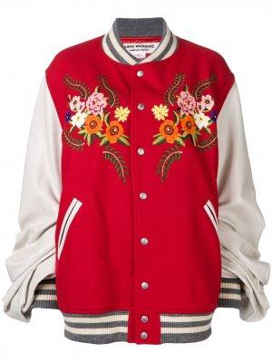 Куртка-бомбер JUNYA WATANABE COMME DES GARÇONS с цветочной вышивкой. Цвет: красный