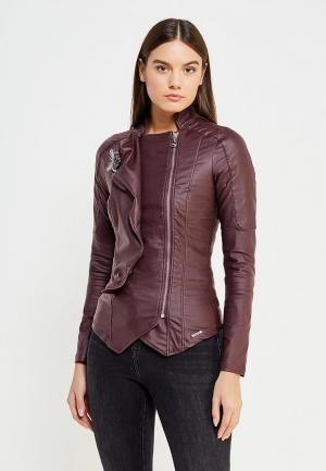 Куртка кожаная Met. Цвет: бордовый