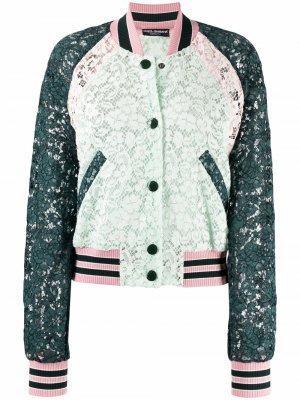 Кружевной бомбер с цветочным узором Dolce & Gabbana. Цвет: зеленый