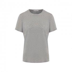 Хлопковая футболка The Row. Цвет: серый
