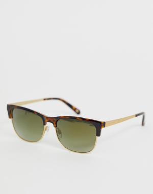 Черепаховые солнцезащитные очки с зелеными стеклами Ted Baker. Цвет: коричневый
