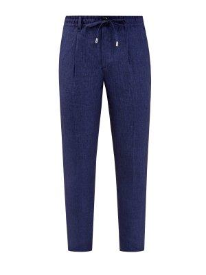 Льняные брюки с эластичным поясом на кулиске CORTIGIANI. Цвет: синий