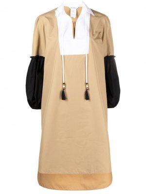 Платье-трапеция в стиле колор-блок Max Mara. Цвет: нейтральные цвета