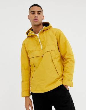 Желтая куртка с капюшоном, молнией до груди и молниями по бокам Bershka. Цвет: желтый