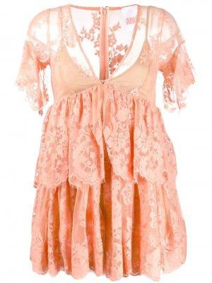 Кружевное платье мини с V-образным вырезом ANIYE BY. Цвет: оранжевый