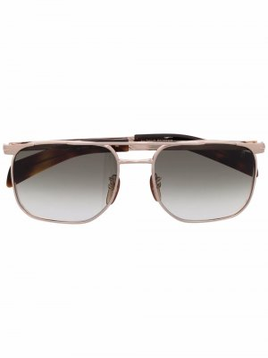 Солнцезащитные очки-авиаторы в квадратной оправе Eyewear by David Beckham. Цвет: золотистый